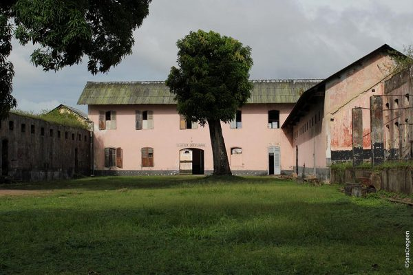 Courtyard of the prison in St Laurent du Maroni. The town now houses the Transportation Museum and is a main access point for entering the neighbouring Surinam.