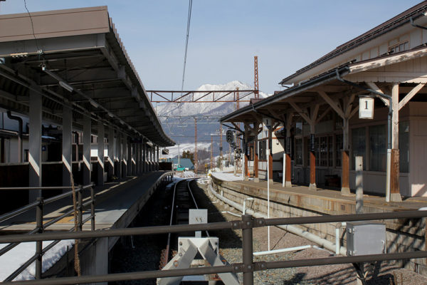 The terminus of the Nagano Electric Railway.