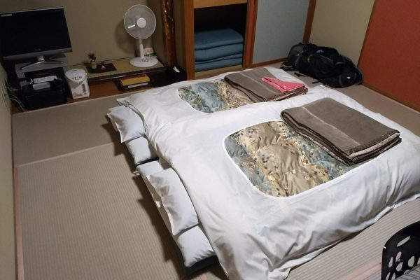 When entering the ryokan with tatami floors, you are expected to leave your shoes at the front door.