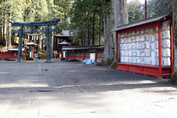 Torii gate and sake offerings.