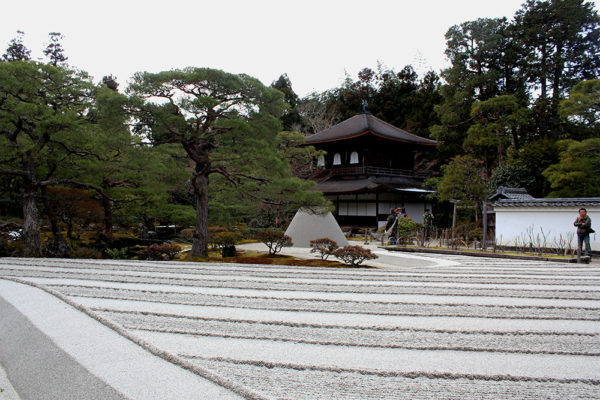 The sand garden at Ginkaku-ji with the mount of sand respresenting Mt. Fuji