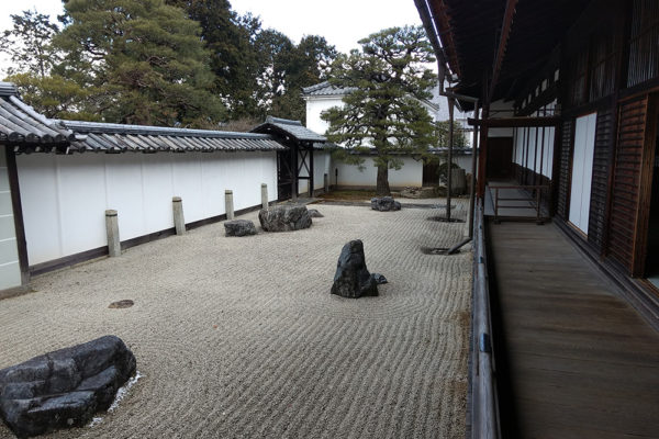The Hōjō garden, a zen garden or the karesansui (dry landscape) rock garden